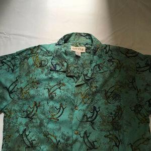 ORVIS Shirt Short Sleeve Hawaiian Button-Front L